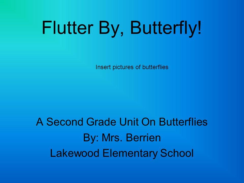 Flutter By, Butterfly! A Second Grade Unit On Butterflies By: Mrs. Berrien Lakewood Elementary School Insert pictures of butterflies