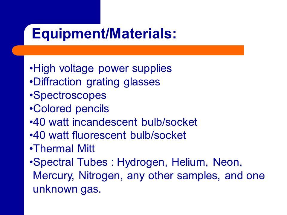 Equipment/Materials: High voltage power supplies Diffraction grating glasses Spectroscopes Colored pencils 40 watt incandescent bulb/socket 40 watt fl