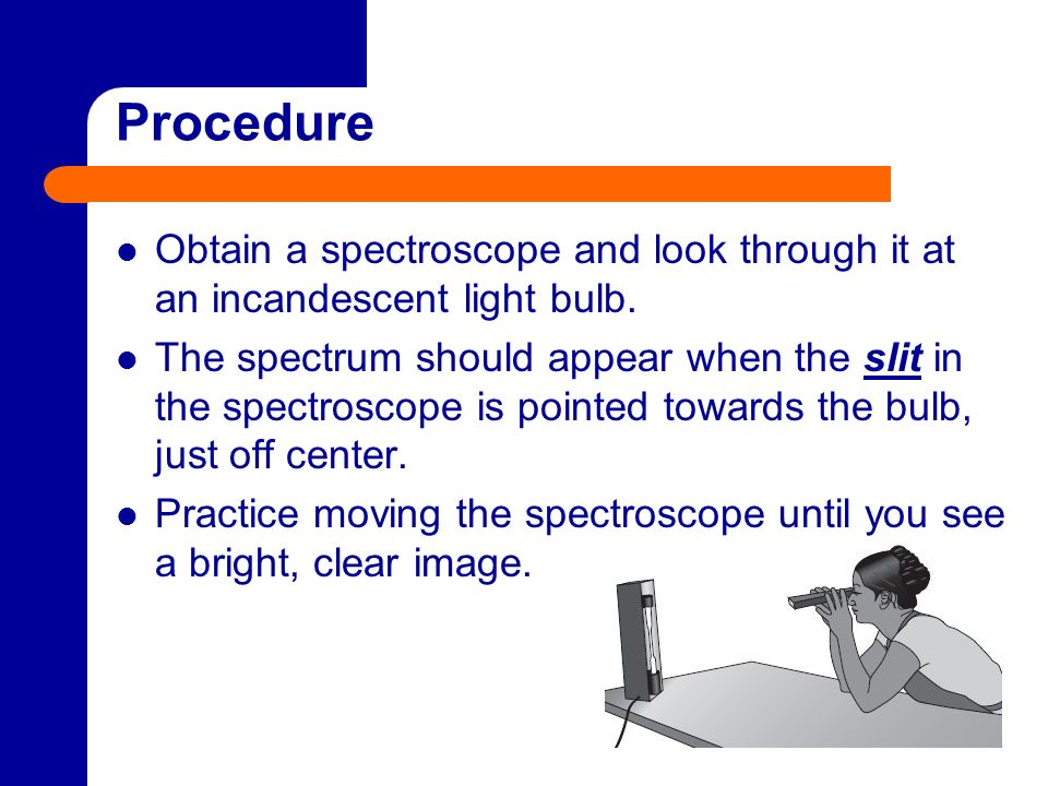Procedure Obtain a spectroscope and look through it at an incandescent light bulb. The spectrum should appear when the slit in the spectroscope is poi