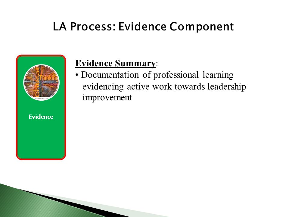 Evidence LA Process: Evidence Component Evidence Summary: Documentation of professional learning evidencing active work towards leadership improvement