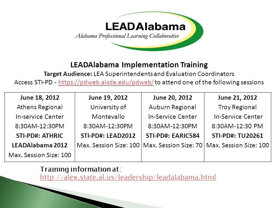 June 18, 2012 Athens Regional In-service Center 8:30AM-12:30PM STI-PD#: ATHRIC LEADAlabama 2012 Max.
