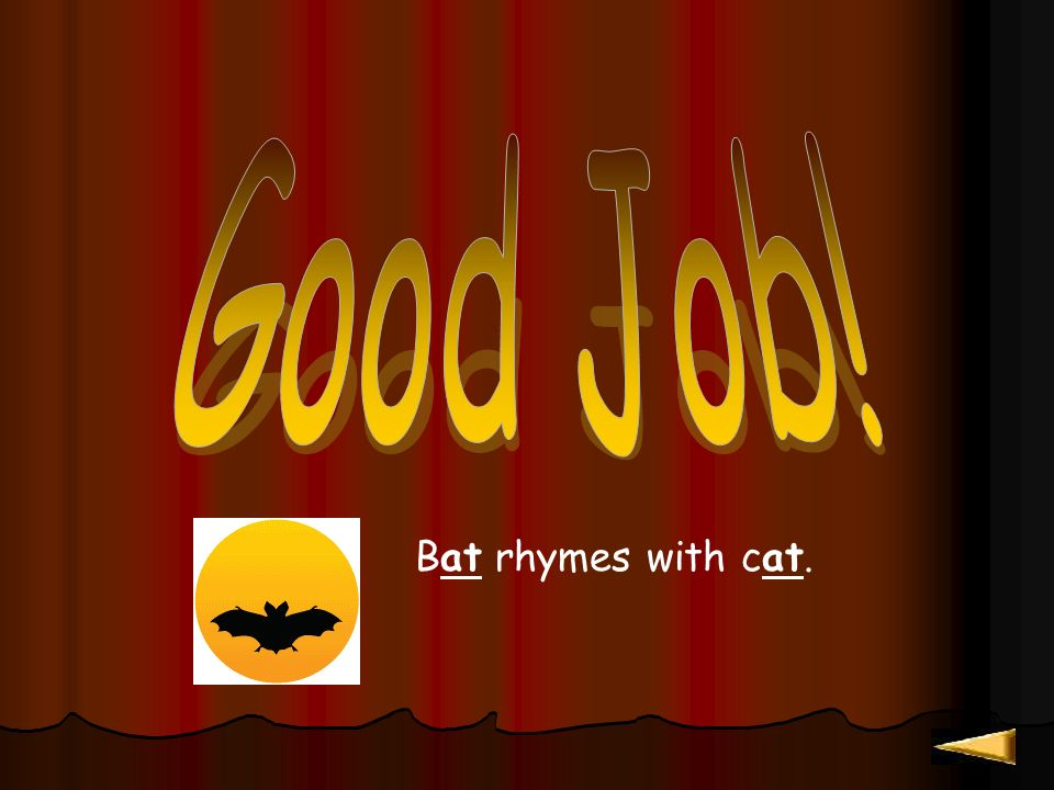 Bat rhymes with cat!