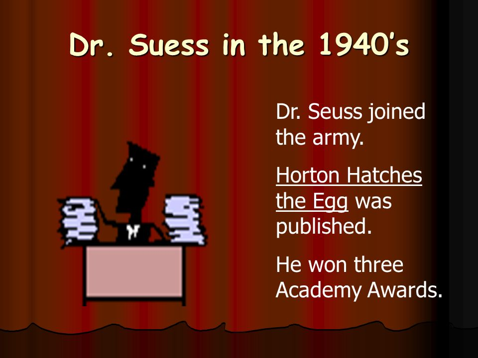 Dr. Seuss in the 1930s In 1936, Dr. Seuss wrote his first book.