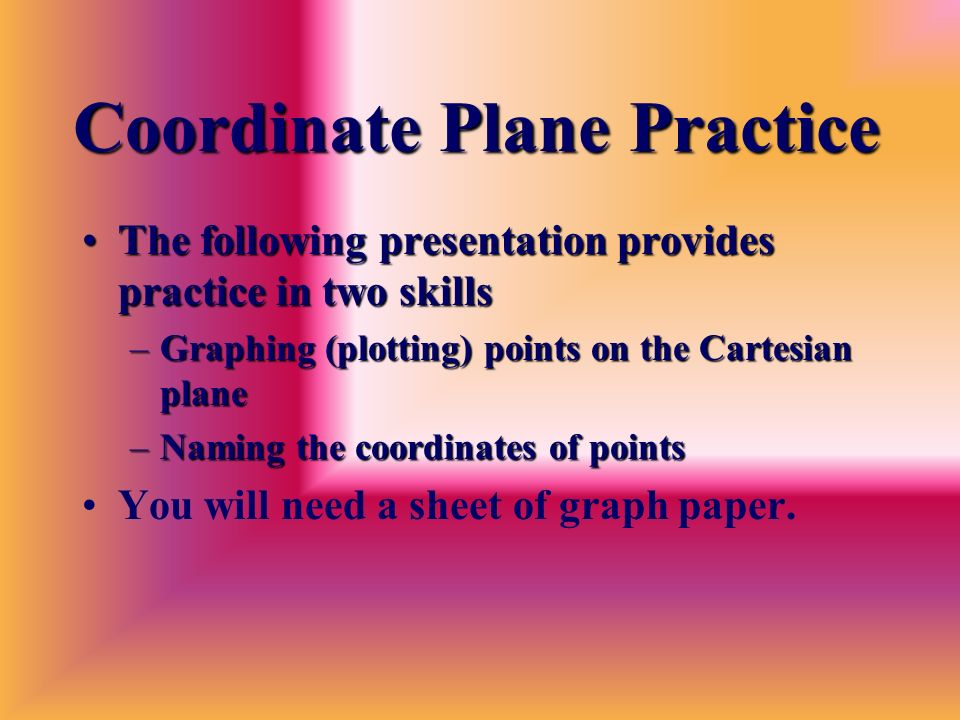 Coordinate Plane Practice The following presentation provides practice in two skillsThe following presentation provides practice in two skills –Graphing (plotting) points on the Cartesian plane –Naming the coordinates of points You will need a sheet of graph paper.