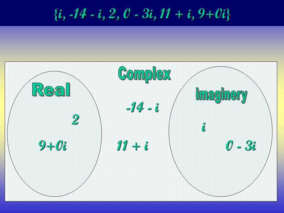 {i, -14 - i, 2, 0 - 3i, 11 + i, 9+0i} i -14 - i 2 0 - 3i 11 + i 9+0i