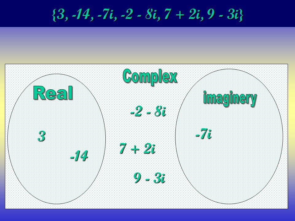 {3, -14, -7i, -2 - 8i, 7 + 2i, 9 - 3i} 3 -14 -7i -2 - 8i 7 + 2i 9 - 3i