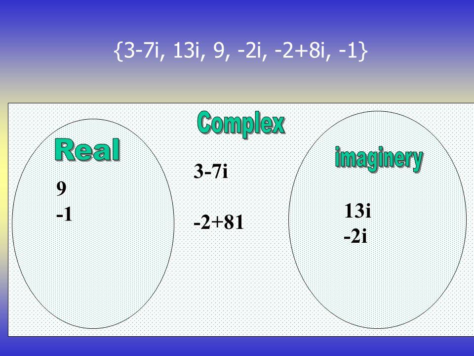 {3-7i, 13i, 9, -2i, -2+8i, -1} 3-7i-2+81 9 13i-2i