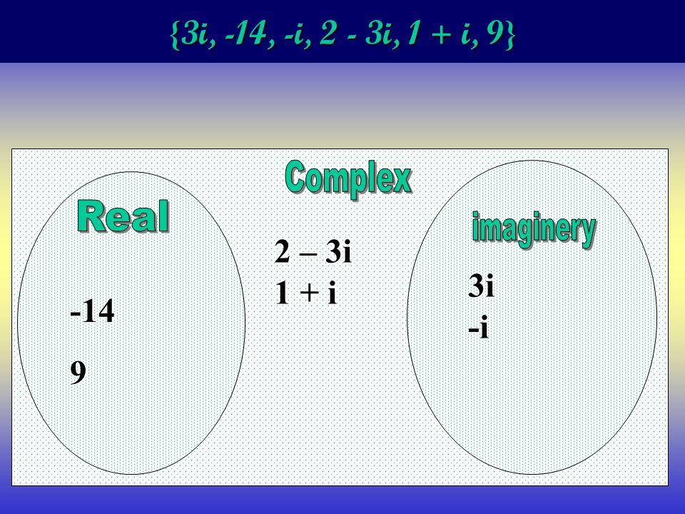 {3i, -14, -i, 2 - 3i, 1 + i, 9} -149 2 – 3i 1 + i 3i-i