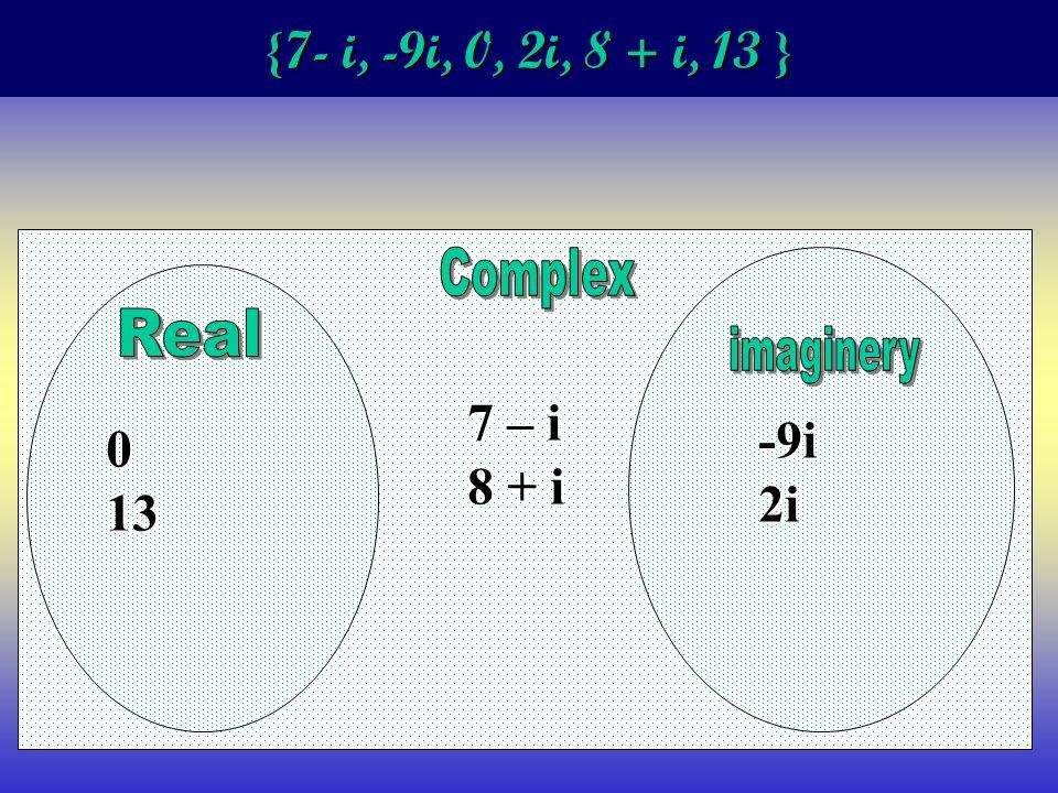 {7- i, -9i, 0, 2i, 8 + i, 13 } 013 7 – i 8 + i -9i2i