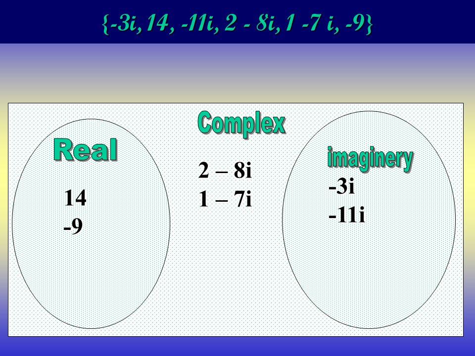 {-3i, 14, -11i, 2 - 8i, 1 -7 i, -9} 14-9 2 – 8i 1 – 7i -3i-11i