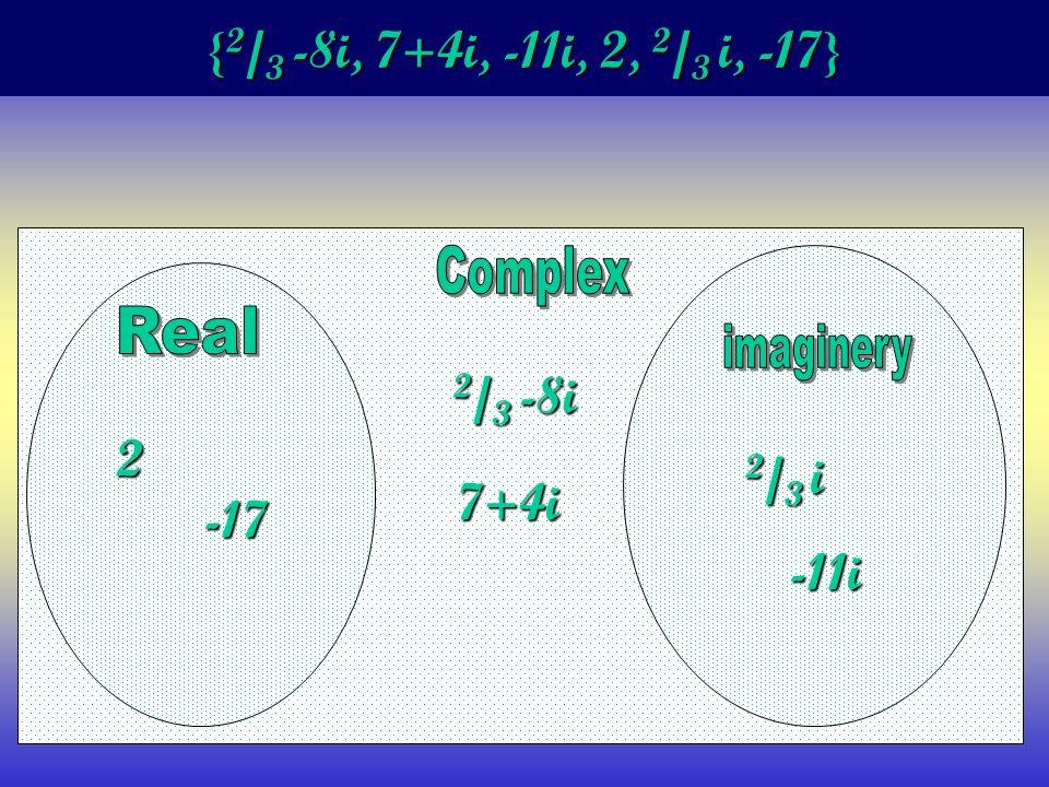 { 2 / 3 -8i, 7+4i, -11i, 2, 2 / 3 i, -17} 2 -17 2 / 3 -8i 7+4i 2 / 3 i -11i