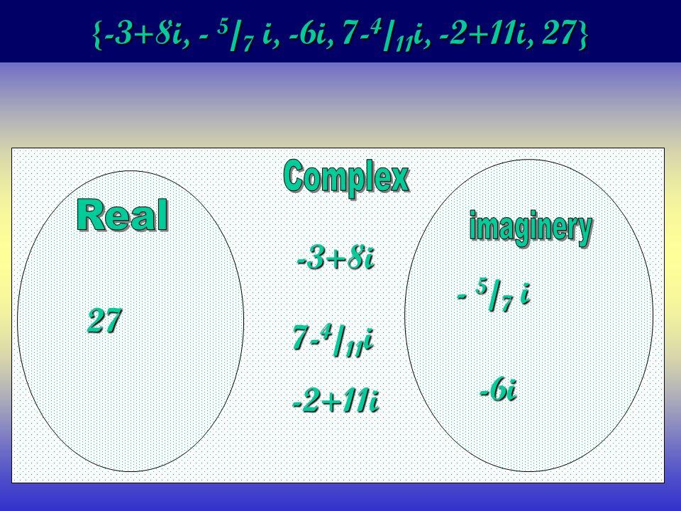 {-3+8i, - 5 / 7 i, -6i, 7- 4 / 11 i, -2+11i, 27} -3+8i - 5 / 7 i -6i 7- 4 / 11 i -2+11i 27