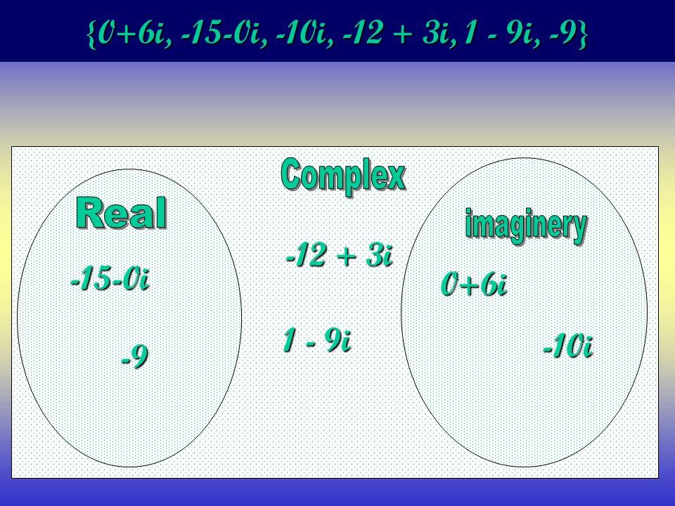 {0+6i, -15-0i, -10i, -12 + 3i, 1 - 9i, -9} 0+6i -15-0i -10i -12 + 3i 1 - 9i -9