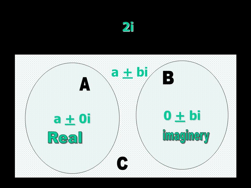 2i a + 0i a + 0i 0 + bi 0 + bi a + bi