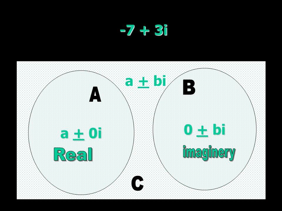 -7 + 3i a + 0i a + 0i 0 + bi 0 + bi a + bi