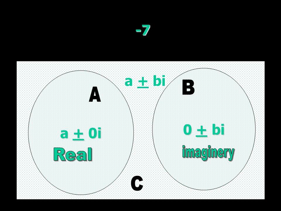 -7 a + 0i a + 0i 0 + bi 0 + bi a + bi