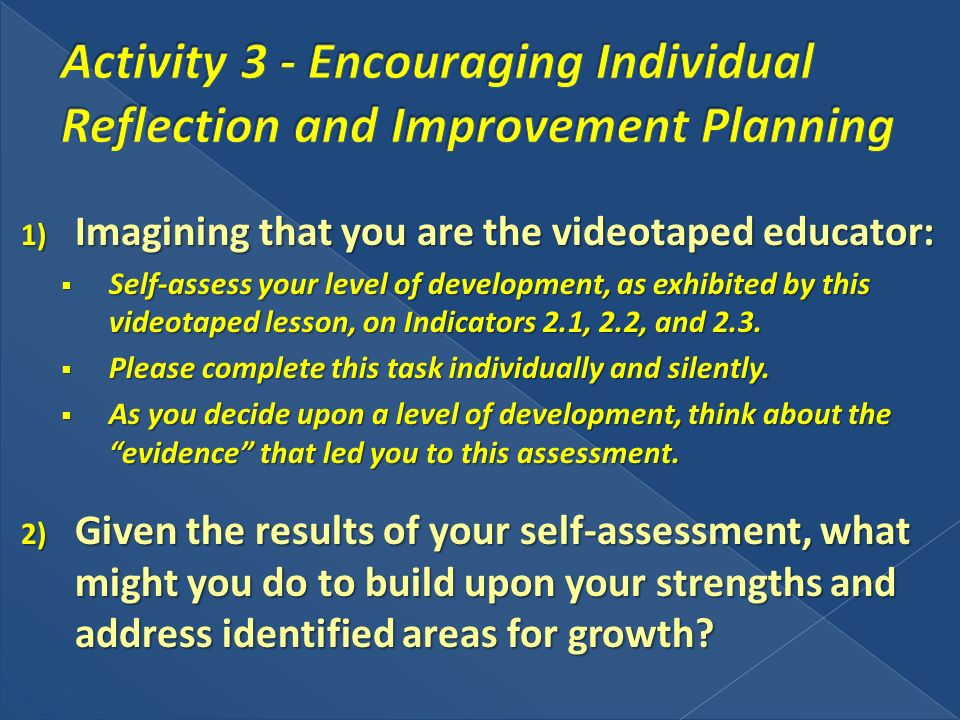 1) Imagining that you are the videotaped educator: Self-assess your level of development, as exhibited by this videotaped lesson, on Indicators 2.1, 2