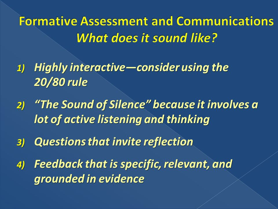 1) Highly interactiveconsider using the 20/80 rule 2) The Sound of Silence because it involves a lot of active listening and thinking 3) Questions tha