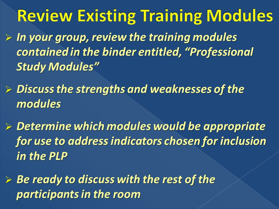 In your group, review the training modules contained in the binder entitled, Professional Study Modules In your group, review the training modules con
