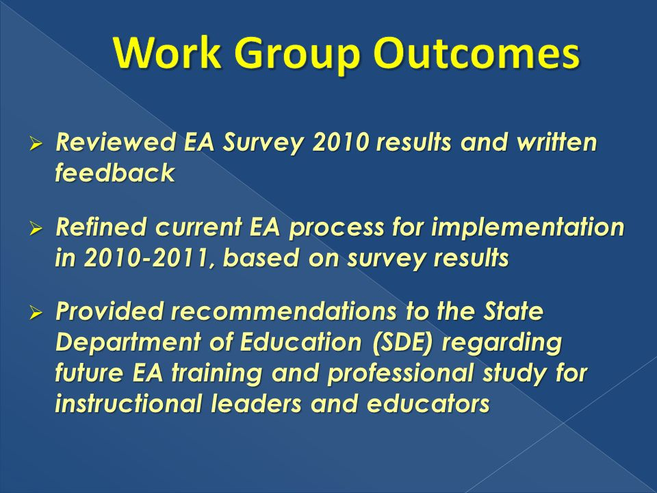 Reviewed EA Survey 2010 results and written feedback Reviewed EA Survey 2010 results and written feedback Refined current EA process for implementatio