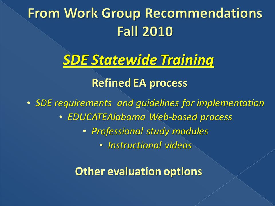 SDE Statewide Training Refined EA process Refined EA process SDE requirements and guidelines for implementation SDE requirements and guidelines for im