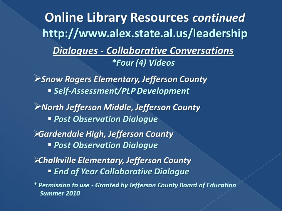 Online Library Resources continued http://www.alex.state.al.us/leadership Dialogues - Collaborative Conversations *Four (4) Videos Snow Rogers Element