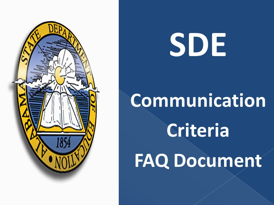 SDE Communication Criteria FAQ Document