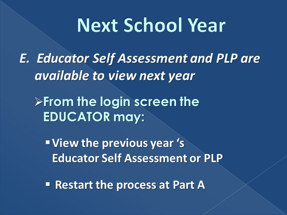 E. Educator Self Assessment and PLP are available to view next year From the login screen the EDUCATOR may: From the login screen the EDUCATOR may: Vi