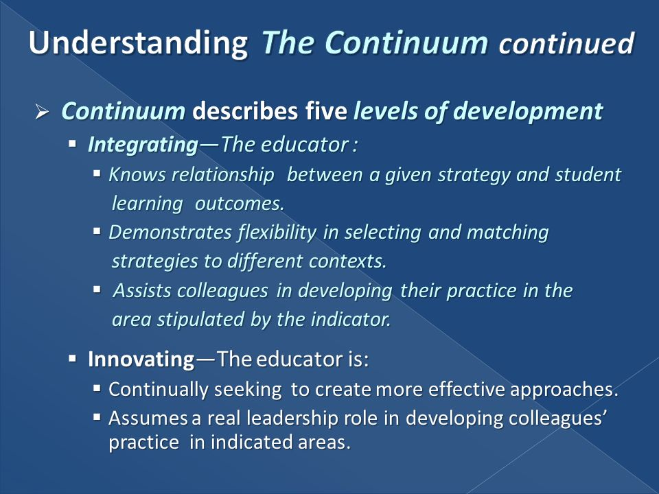 Continuum describes five levels of development Continuum describes five levels of development IntegratingThe educator : IntegratingThe educator : Know