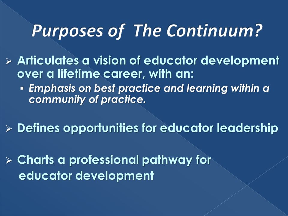 Articulates a vision of educator development over a lifetime career, with an: Articulates a vision of educator development over a lifetime career, wit