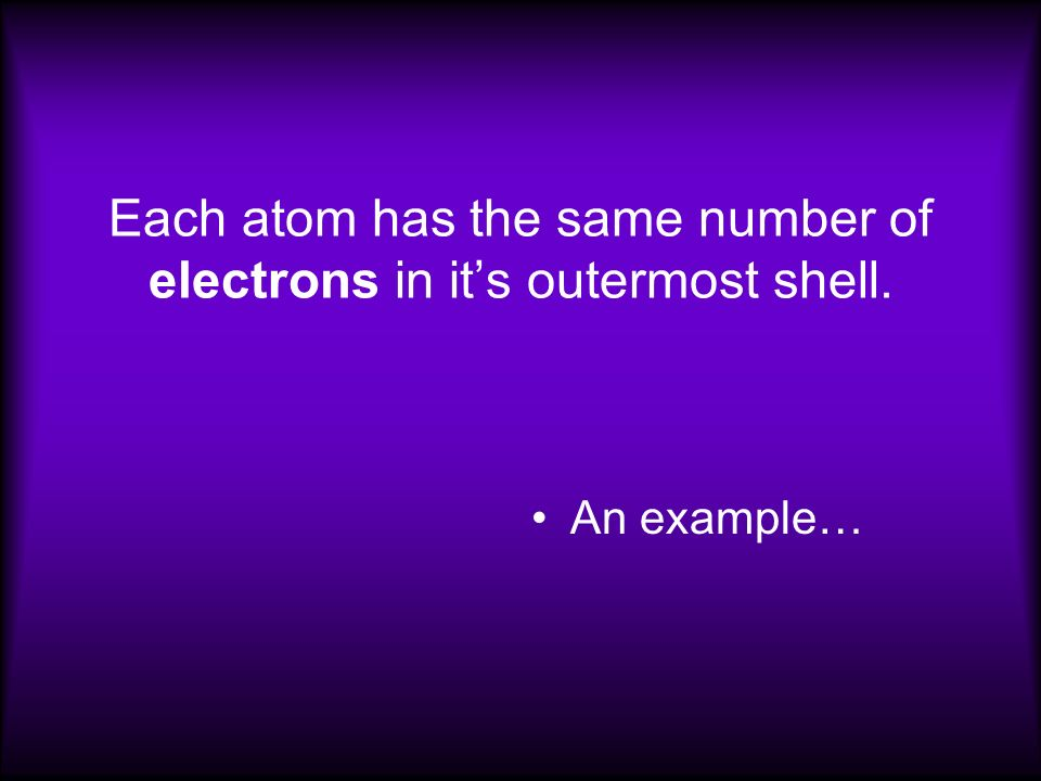 Each atom has the same number of electrons in its outermost shell. An example…