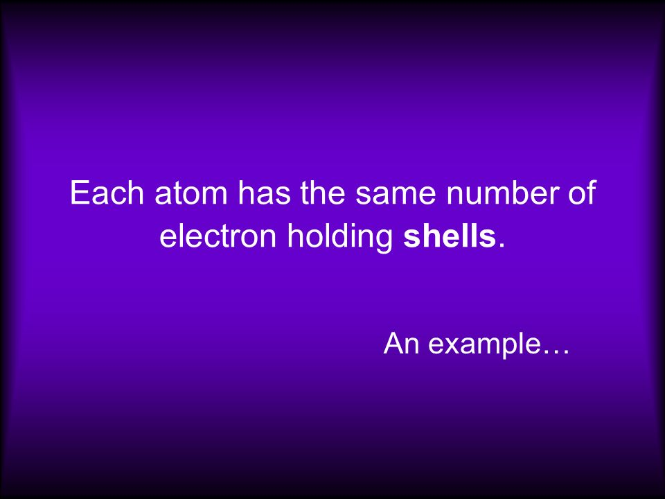 Each atom has the same number of electron holding shells. An example…