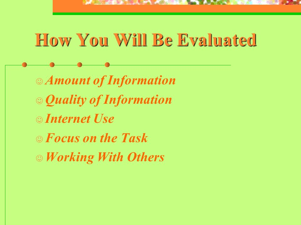 How You Will Be Evaluated Amount of Information Quality of Information Internet Use Focus on the Task Working With Others