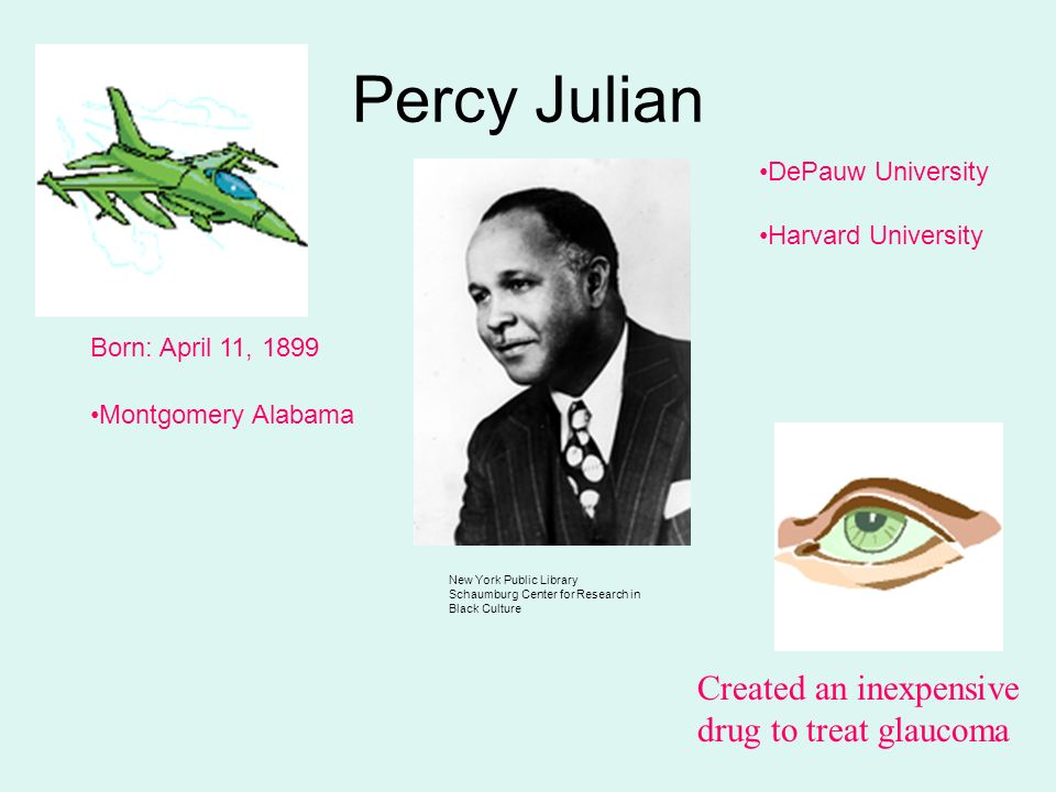 Percy Julian New York Public Library Schaumburg Center for Research in Black Culture Born: April 11, 1899 Montgomery Alabama DePauw University Harvard University Created an inexpensive drug to treat glaucoma