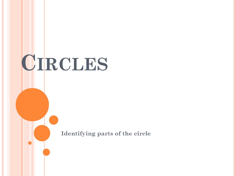 C IRCLES Identifying parts of the circle