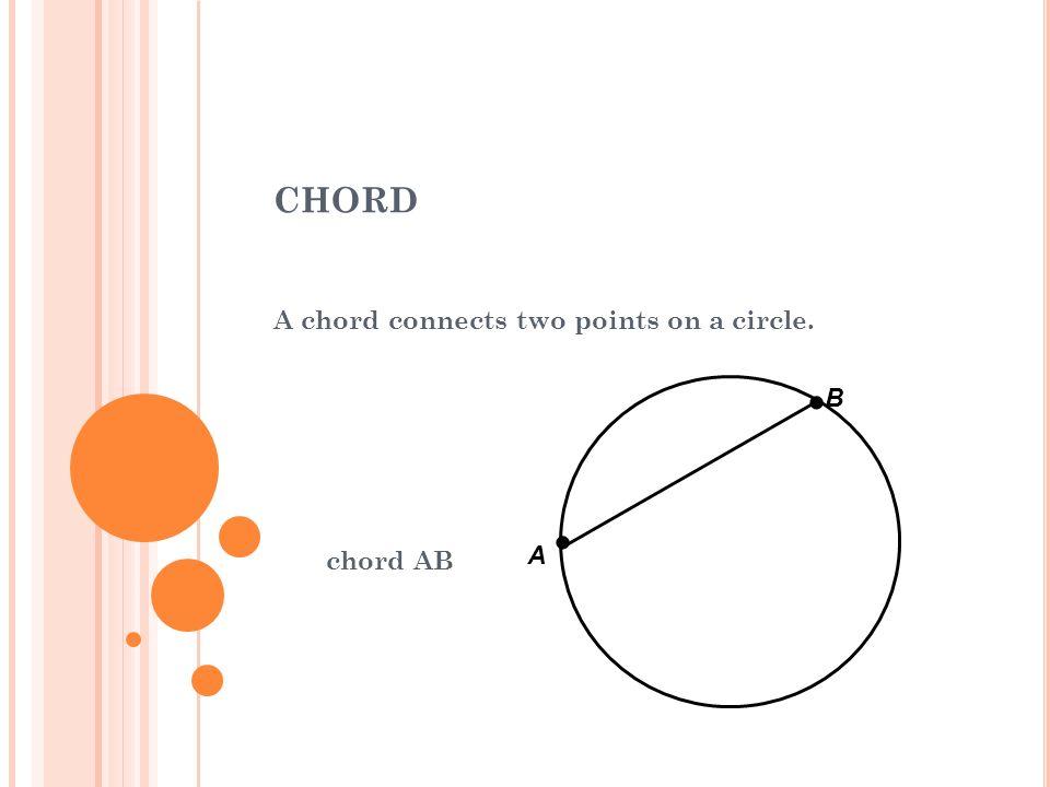DIAMETER A diameter is a chord that passes through the center of a circle. diameter AB A B