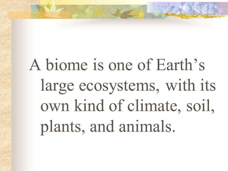 A biome is one of Earths large ecosystems, with its own kind of climate, soil, plants, and animals.