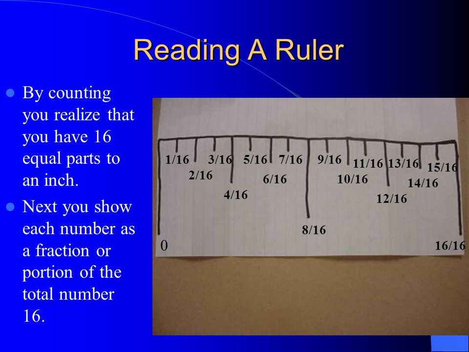 By counting you realize that you have 16 equal parts to an inch. Next you show each number as a fraction or portion of the total number 16. Reading A