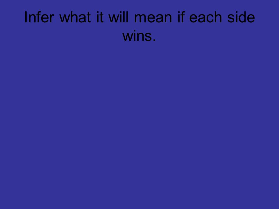 Infer what it will mean if each side wins.
