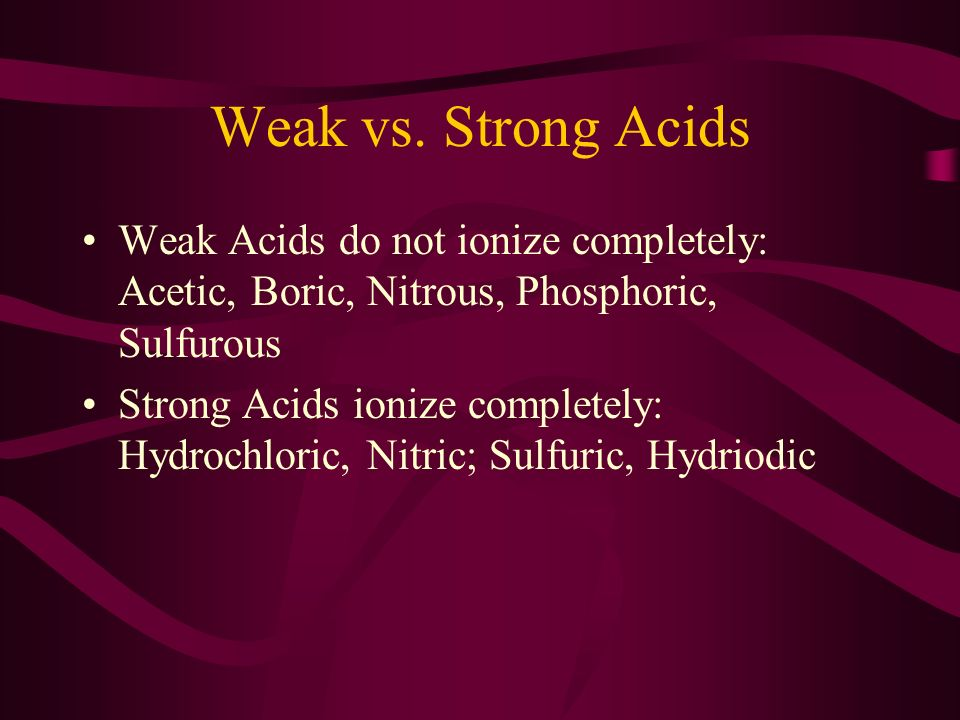Acids Generate Ions HNO 3 + H 2 O H 3 O + + NO 3