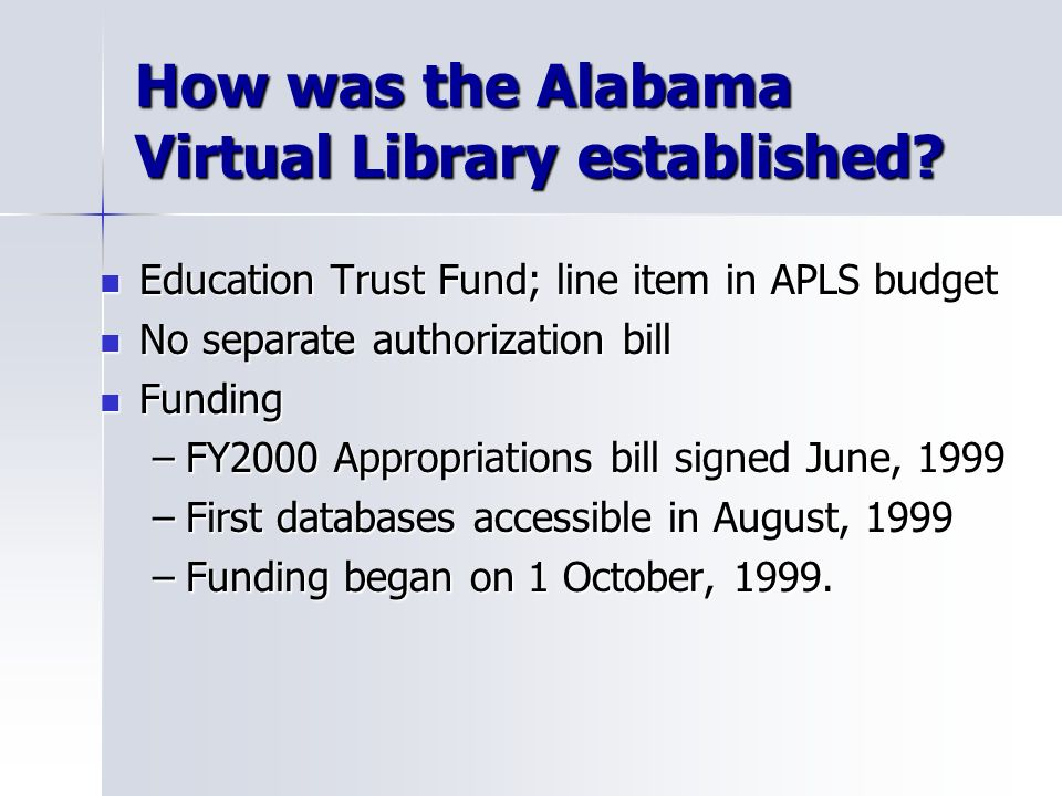 How was the Alabama Virtual Library established.