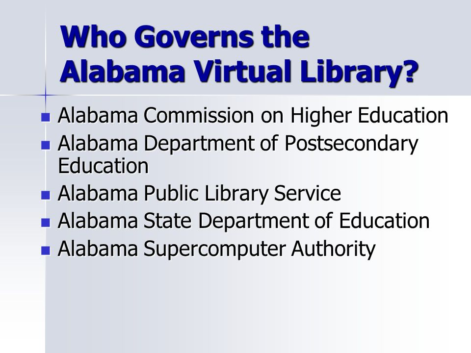 Who Governs the Alabama Virtual Library.