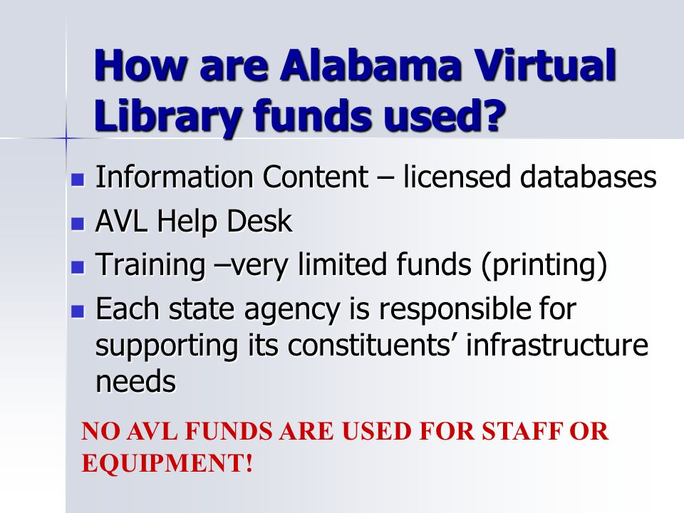 How are Alabama Virtual Library funds used.