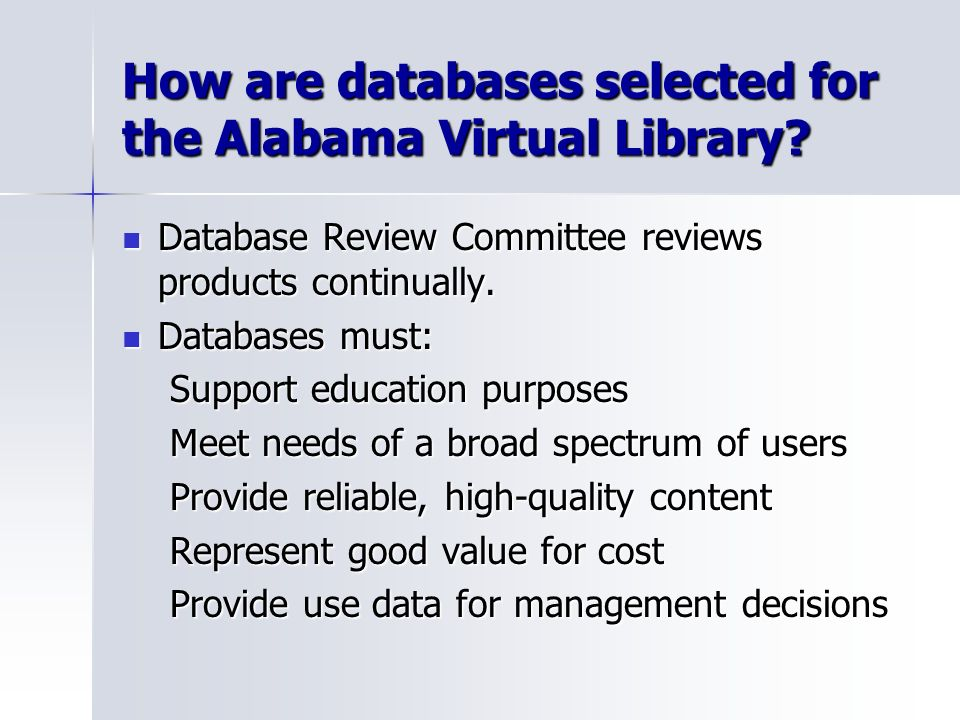 How are databases selected for the Alabama Virtual Library.