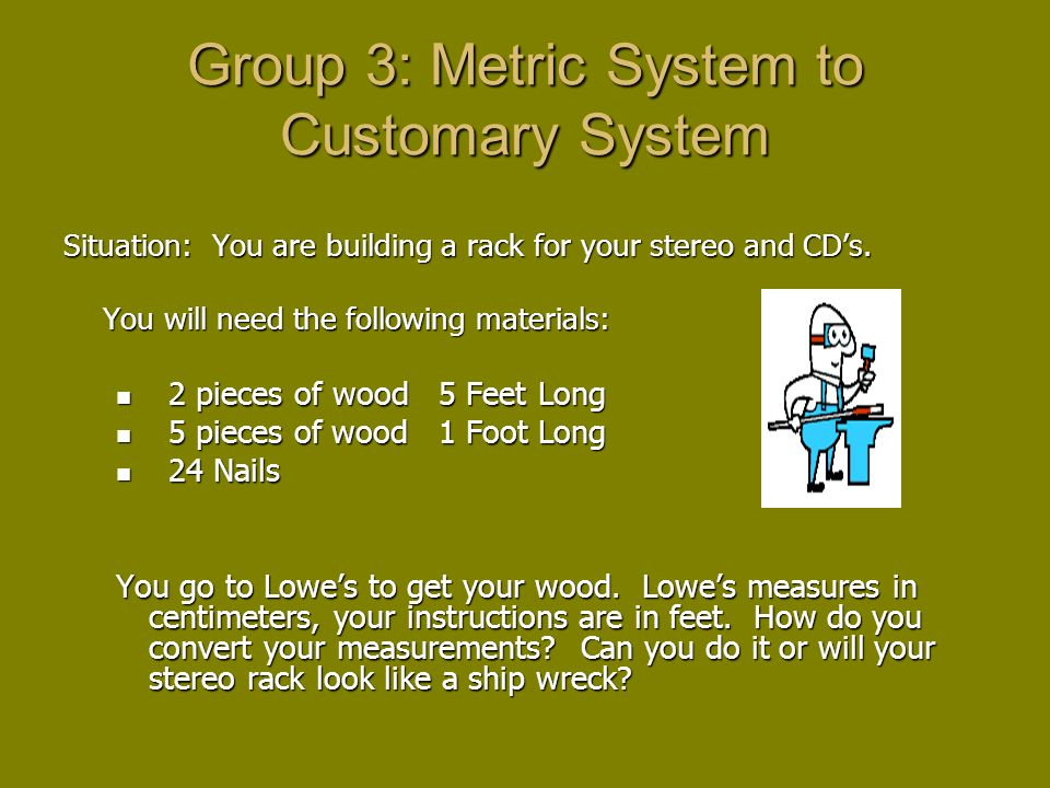 Group 3: Metric System to Customary System Situation: You are building a rack for your stereo and CDs.