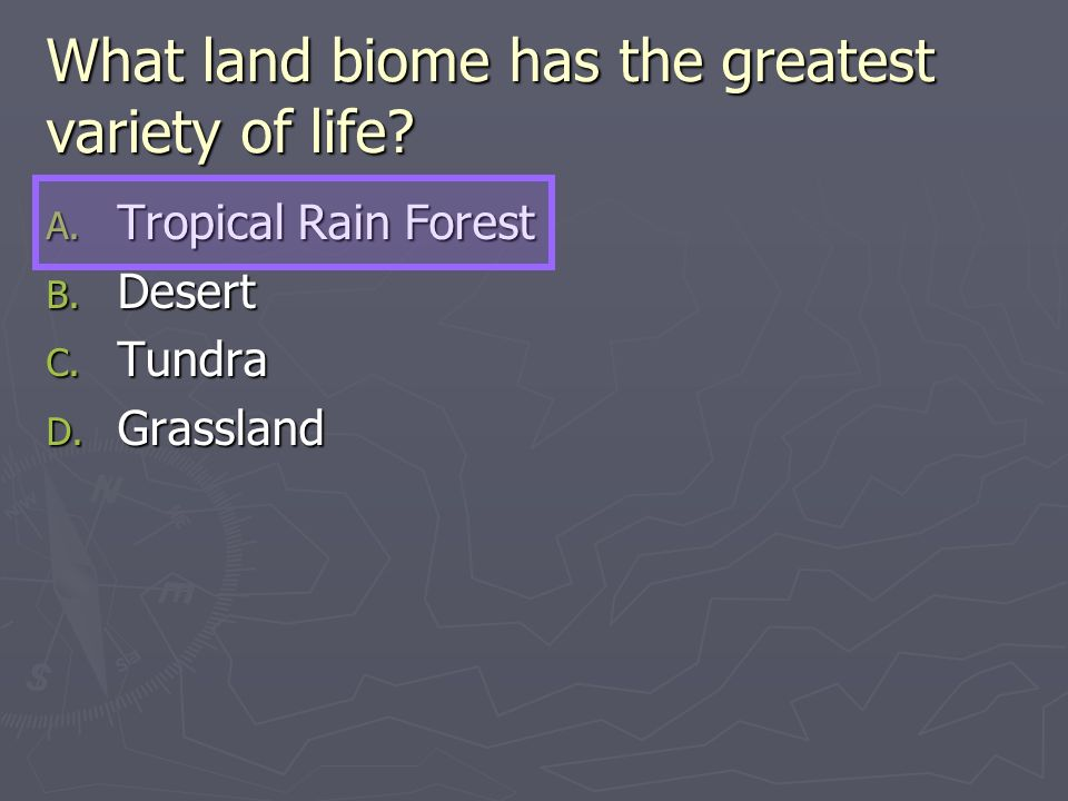 What land biome has the greatest variety of life? A. Tropical Rain Forest B. Desert C. Tundra D. Grassland