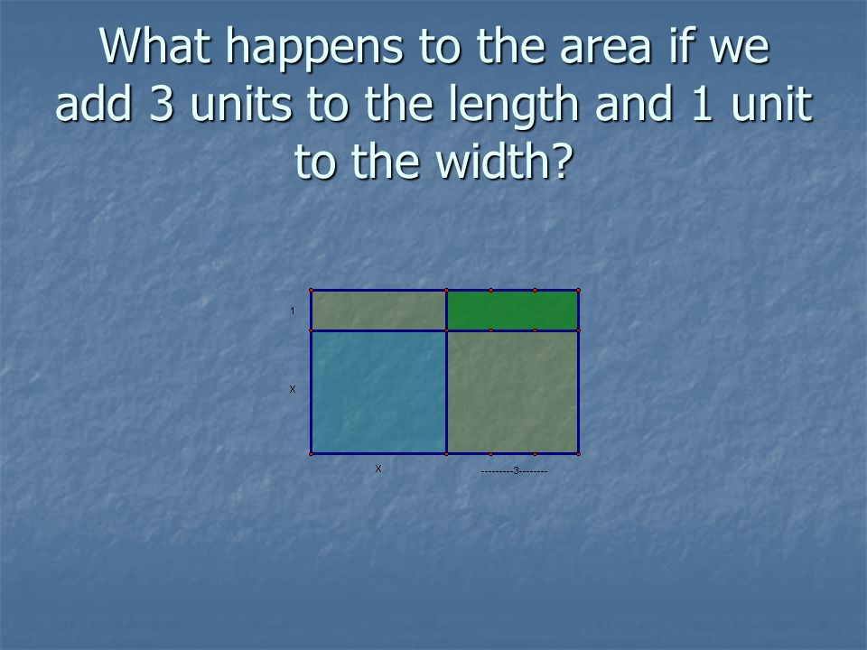 What happens to the area if we add 3 units to the length and 1 unit to the width?