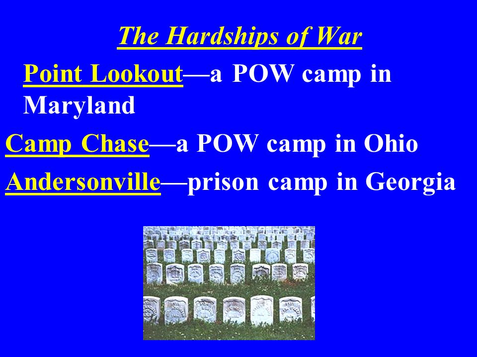 The Hardships of War Point Lookouta POW camp in Maryland Camp Chasea POW camp in Ohio Andersonvilleprison camp in Georgia