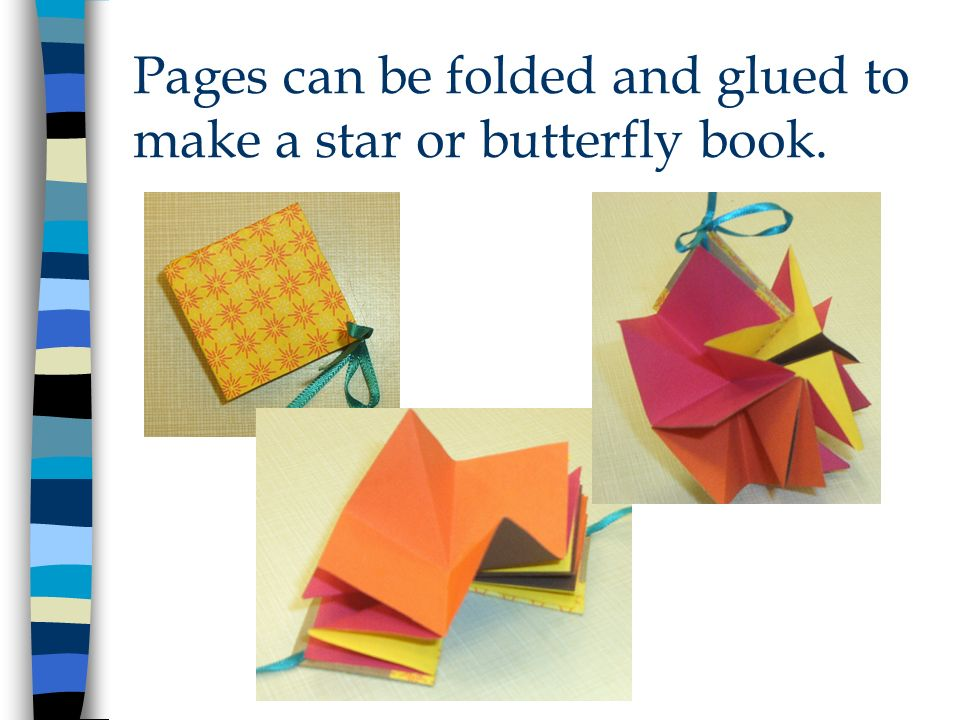 Pages can be folded and glued to make a star or butterfly book.