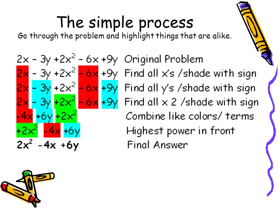 The simple process Go through the problem and highlight things that are alike.